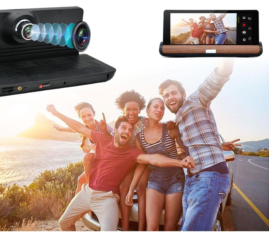 Відеореєстратор з GPS навігатором Junsun e26 Андроїд + камера заднього виду