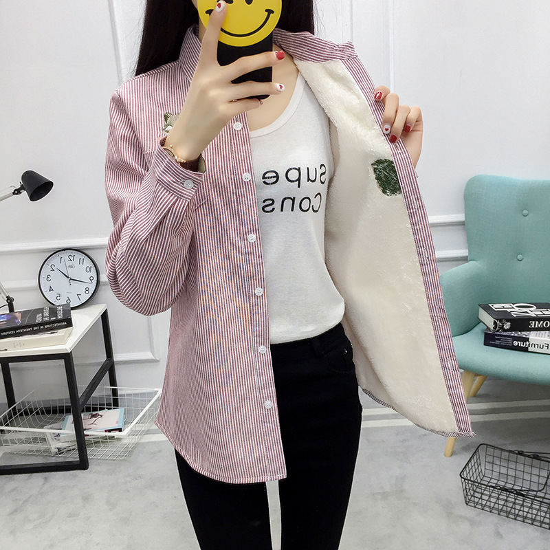 Winter Velvet Thick Warm Blouse Women Striped Office Shirt Female Long Sleeve Lady Tops Fox Embroidery Cotton Outwear Plus Size