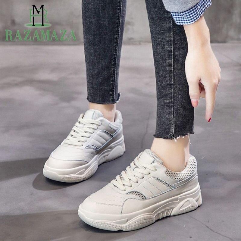 Blanc Appartements 35 Jogging Cuir 39 Plein Véritable Occasionnels Razamaza Sneakers Femmes Net blanc Air En De Souffle Taille Chaussures Formateurs Beige nqw0TZ