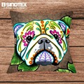 ISINOTEX Cotton Linen Fabric Cushion Covers Colorful Dogs Digital Printed Home Decorative Square Pillowcase 43x43cm