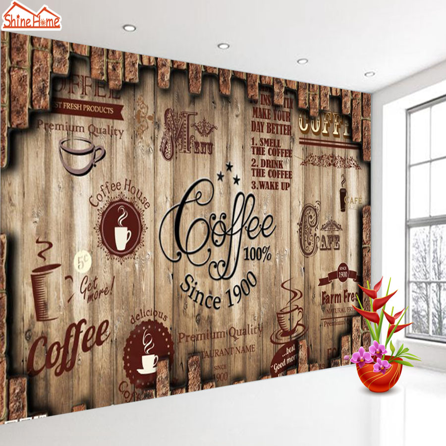 ShineHome-Retro Coffee Tea Time Cafe Store Brick Wallpaper for 3d Rooms Walls Wallpapers for 3 d  Living Room Wall Paper Murals Обои