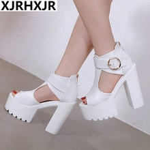 цены на 14cm thick heel sandal new style spring and summer women's shoes sexy night club super high heel open toe party shoes  в интернет-магазинах