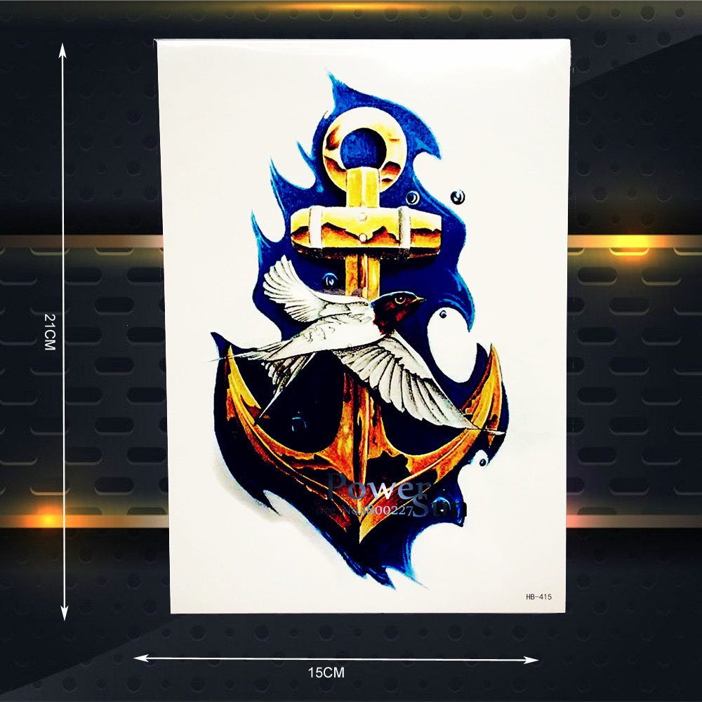 One Piece Temporary Tattoo 3D Gold Anchor Pirate