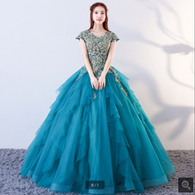 SUNTINGTING Vestido De Festa ball gown blue prom dress