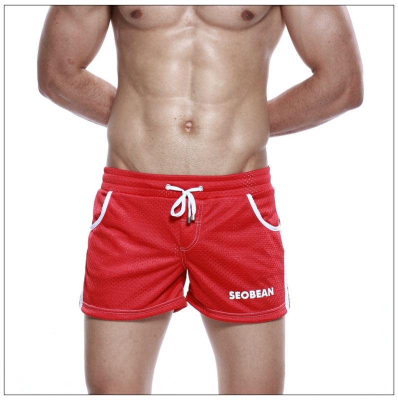 Men's breathable gym shorts male loose sport Shorts red polyester ...