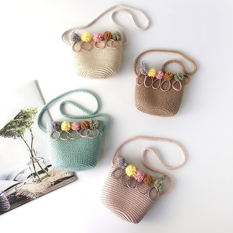 Korean Baby Mini Coin Purse Summer Kids Girls Straw Beach Bag Rattan Small Zero Wallet Pouch Toddler Accessories Crossbody Bags(China)