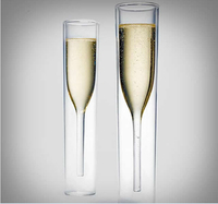 2x Fashion Luxury Double Layer Deck Two Tier Inside Out Champagne Wine Glasses Wedding Gifts Red