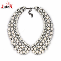 JURAN Fashion Crystal Collar Style Necklace Choker Collar Bib Statement Simulated Pearl Necklace For Women Jewelry
