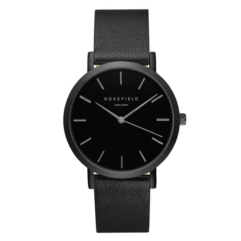 Ladies Ultra-Thin Watch - all black leather and face
