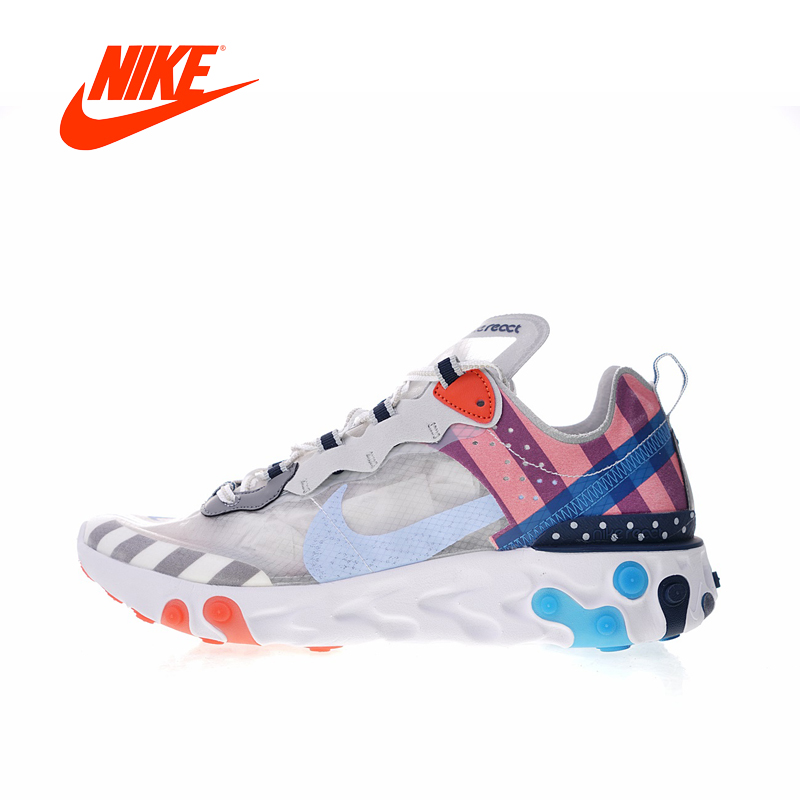 Original New Arrival Authentic Nike Upcoming React Element 87 x Parra Men's Running Shoes Sport Sneakers Good Quality AQ3057-100