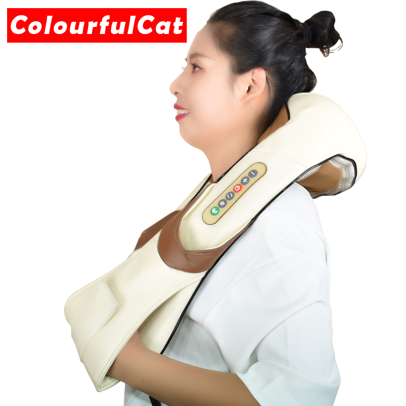 Shiatsu Cervical atrás y masajeador de cuello chal de rodillo calor dispositivo Manual de China casa coche máquina de masaje