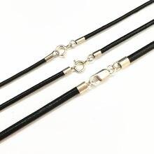 Cabo de couro preto colar com 925 conectores de prata esterlina e fecho, cordão redondo para homens e mulheres 1.5mm,2mm,3mm