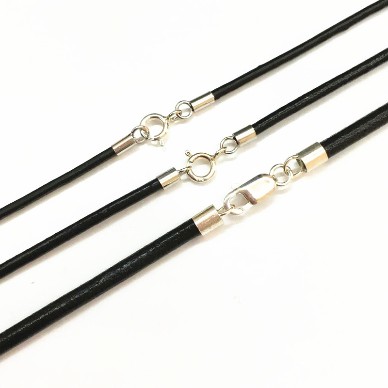Leather Cord Black Necklace with 925 Sterling Silver Connectors and Clasps Round Leather Cord for Mens