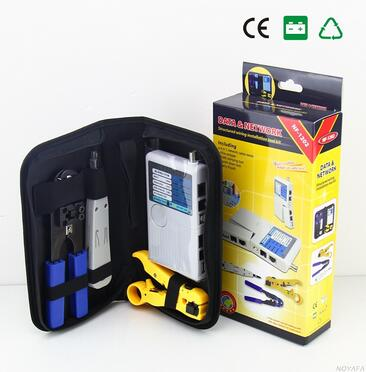 цена Free shipping,NOYAFA NF-1202 Network tool kit Wire stripper + 4 IN 1 network cable tester+ RJ45 Crimping tool +punch Down Tool