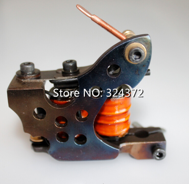 ФОТО professional brass wire 10 wraps shader handmade Cast iron frame Tattoo Machine Gun