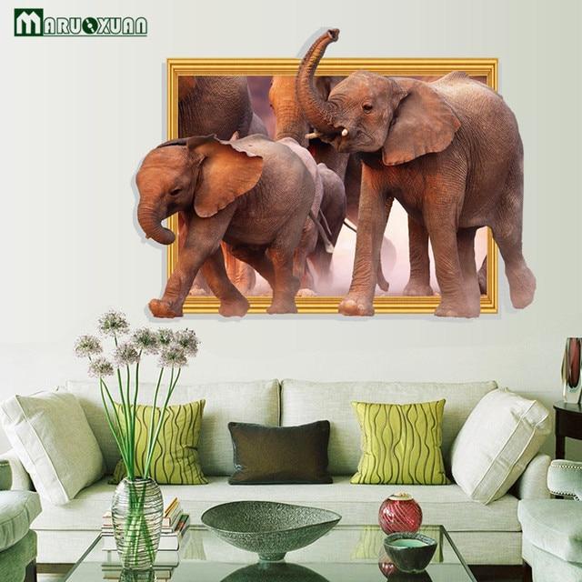 YunXi 3D Elephant Family Finte Finestre Adesivi Camera Da Letto ...