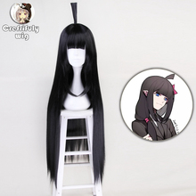 100cm Anime Aotu World KAILIE Long Straight Black Cosplay Wig With Bangs Halloween Costume Synthetic Hair Wigs For Women anime naruto shippuden hinata hyuga cos hair wig blue black mixed color 100cm long straight cosplay costume wigs free shipping