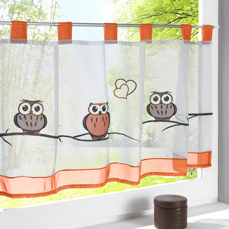 Urijk 1PC Owl Pattern Half Tulle Curtains Decoration Pastoral Style Small Cafe  Curtain For Kitchen Screen Window Tulle Curtain
