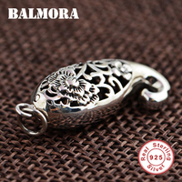 BALMORA 100% Real 925 Sterling Silver Jewelry Retro Hollow Fish & Flower Pendants for Necklaces Women Accessories Gifts SY12908