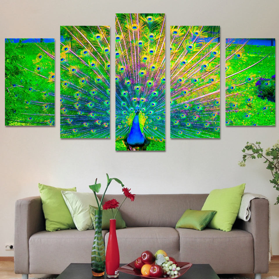 Peacock Living Room Decor Online Buy Wholesale Canvas Peacock Wall Art From China Canvas