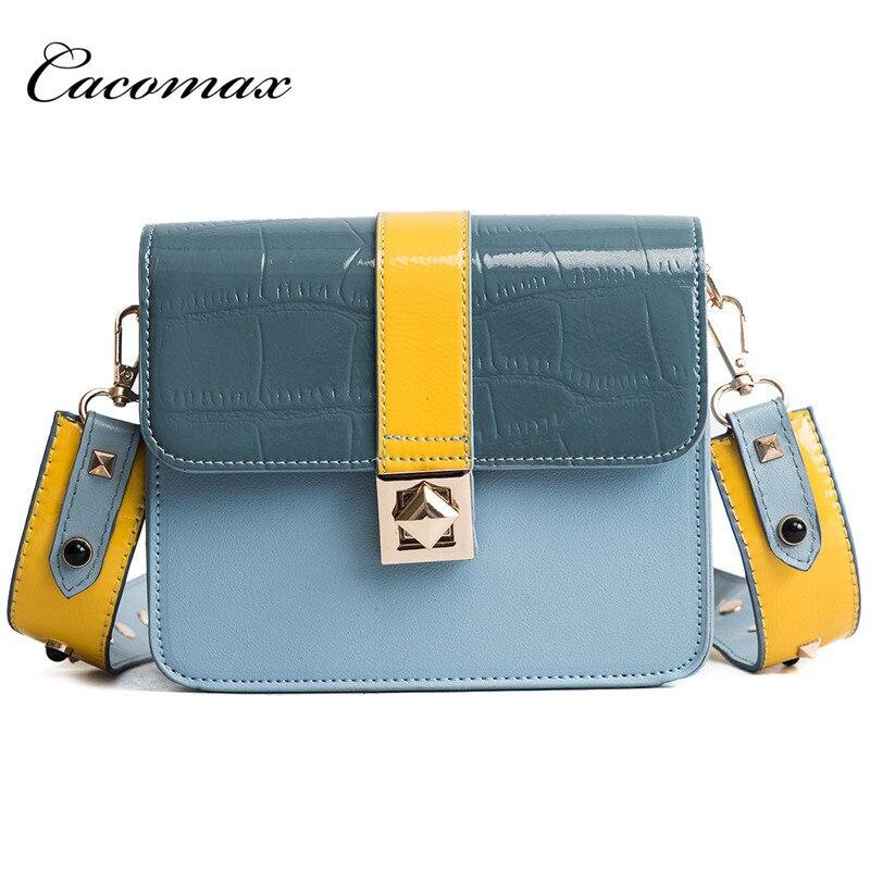 2018 Fashion Women Rivet Messenger Bag Quality Leather Womens Flap Bag Chain Strap Female Shoulder Bag Lay Crossbody Bags