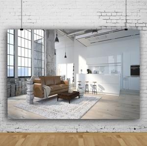 Image 2 - Laeacco סלון שיחת וידאו פנים דקור Photophone ספה חלון שטיח צילום רקע תמונה תפאורות תמונה לירות