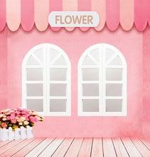 꽃 테마 사진 사진 5x5ft 핑크 하우스 나무 바닥 스튜디오 배경 사진 당 사진