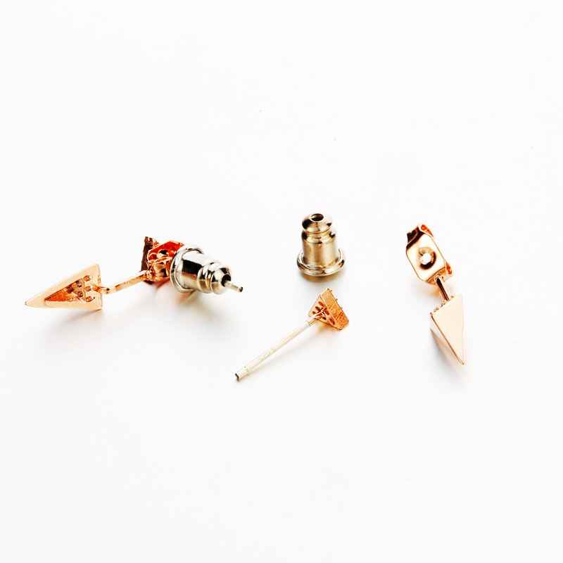 MIGGA Punk petit Triangle géométrique zircone boucles d'oreilles couleur or Rose CZ cristal Brincos