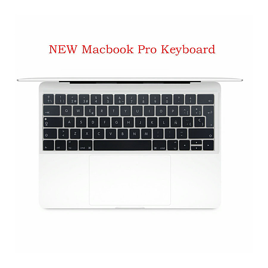 Silicone Euro Version Spanish Keyboard Layout For Macbook Pro With Touch Bar 2016 New Pro 13 15 Keyboard Stickers Skin Cover