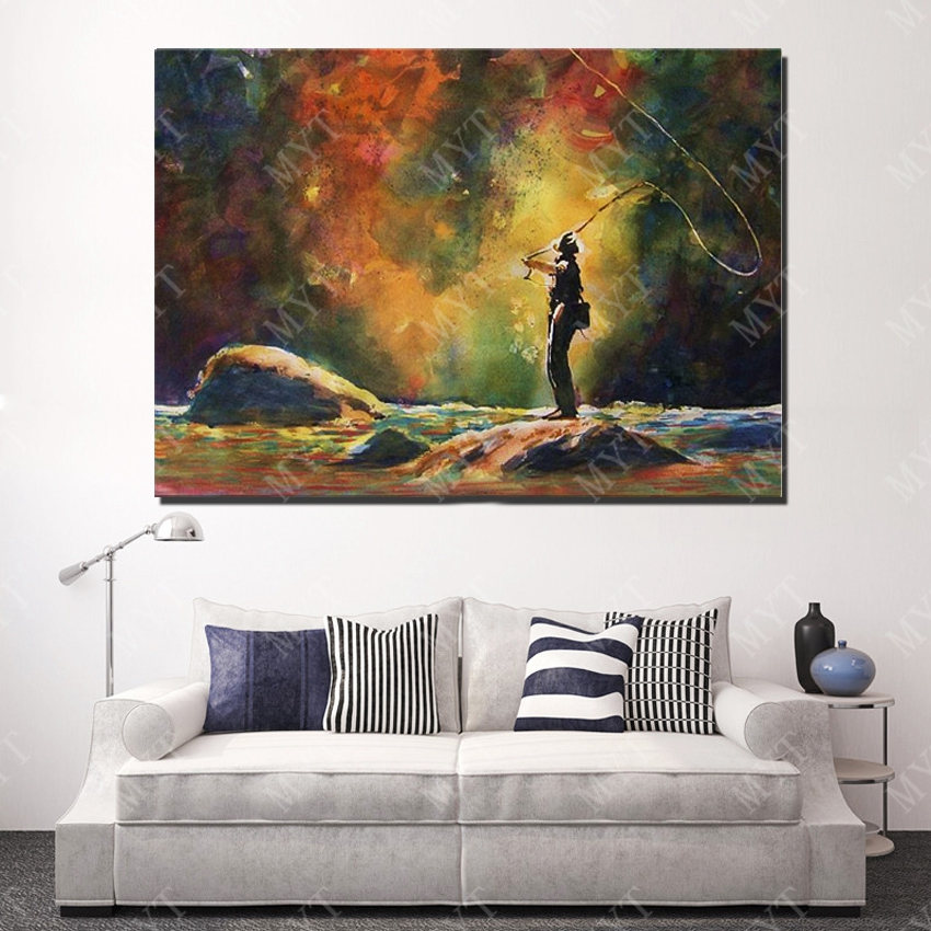 ▻Hecho a mano impresión Pesca pintura al óleo pared arte pared ...