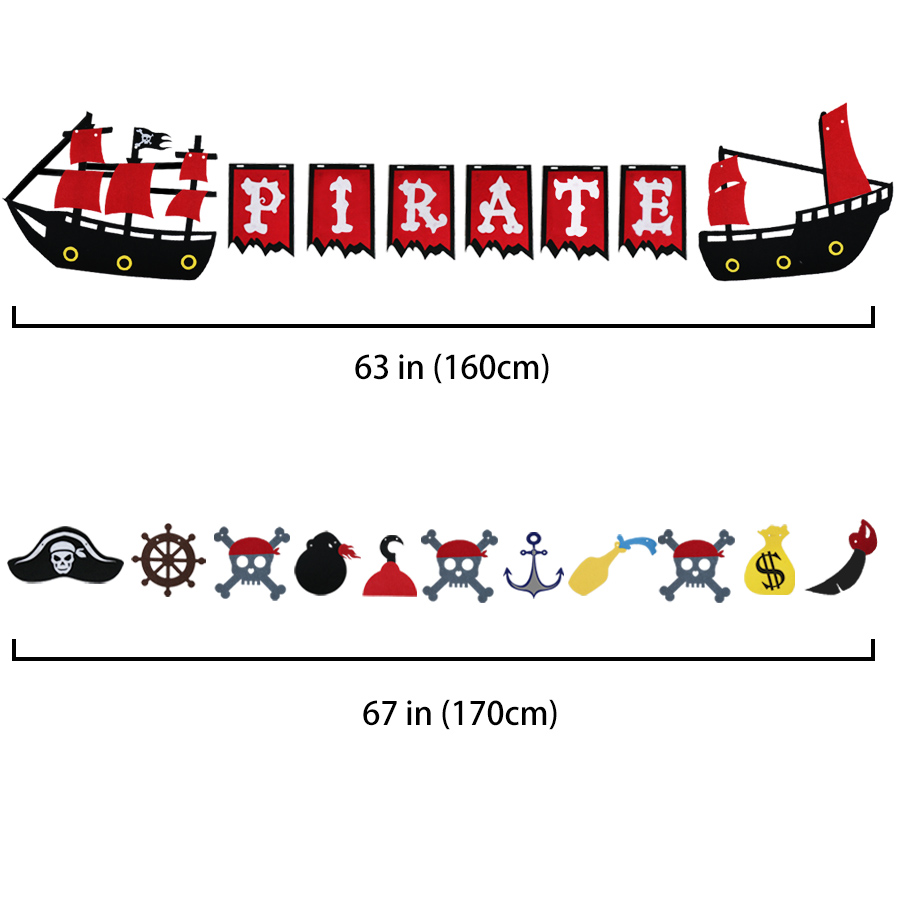 SPECIAL Pirate Banner Durable Felt Flags Themed Party Decorative Flag Background Pirate Theme Bunting Hang Garland Party Decors