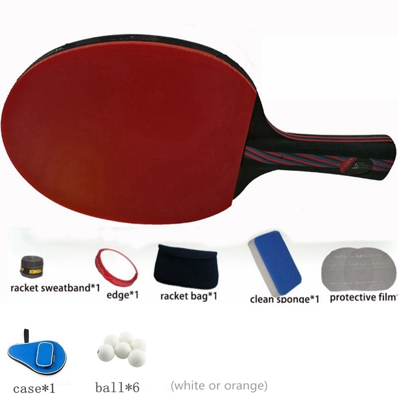 Hybrid Wood 9.8 carbon fiber Table tennis racket glued with double face Pimples-in blue rubber Ping Pong Racket tenis de mesa