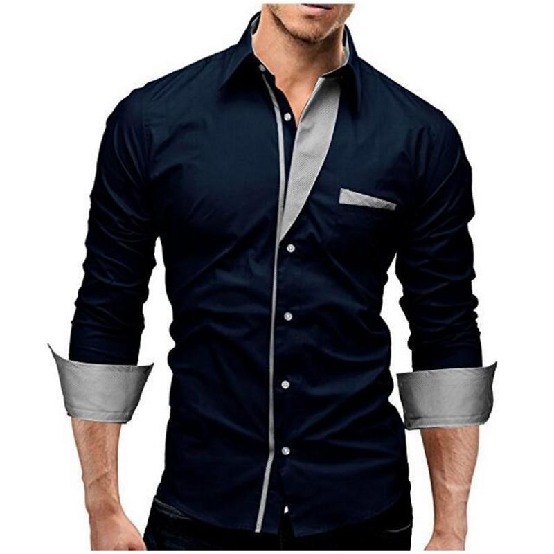 2018 Mode Märke Camisa Masculina Långärmad tröja Män Solid Färg - Herrkläder - Foto 1