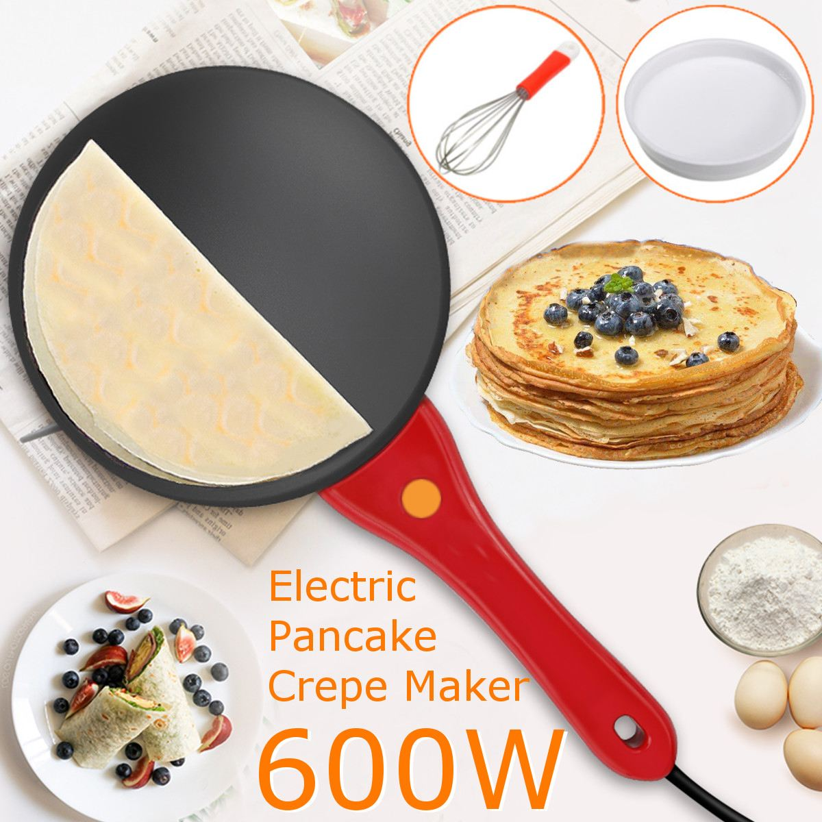 220V 600W Kitchen Electric Griddle Pancake Baking Crepe Maker Pan Pizza Cake Non-Stick Machine Home DIY Cooking +Egg Beater