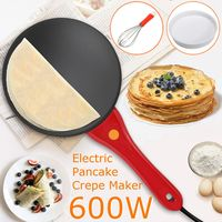 220V 600W Kitchen Electric Griddle Pancake Baking Crepe Maker Pan Pizza Cake Non Stick Machine Home DIY Cooking +Egg Beater
