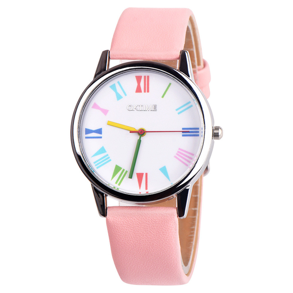 Fashion Retro Rainbow Design Leather Band Analog Alloy Quartz Wrist Watch minimalist watches clock women gedi #TX4 analog watch