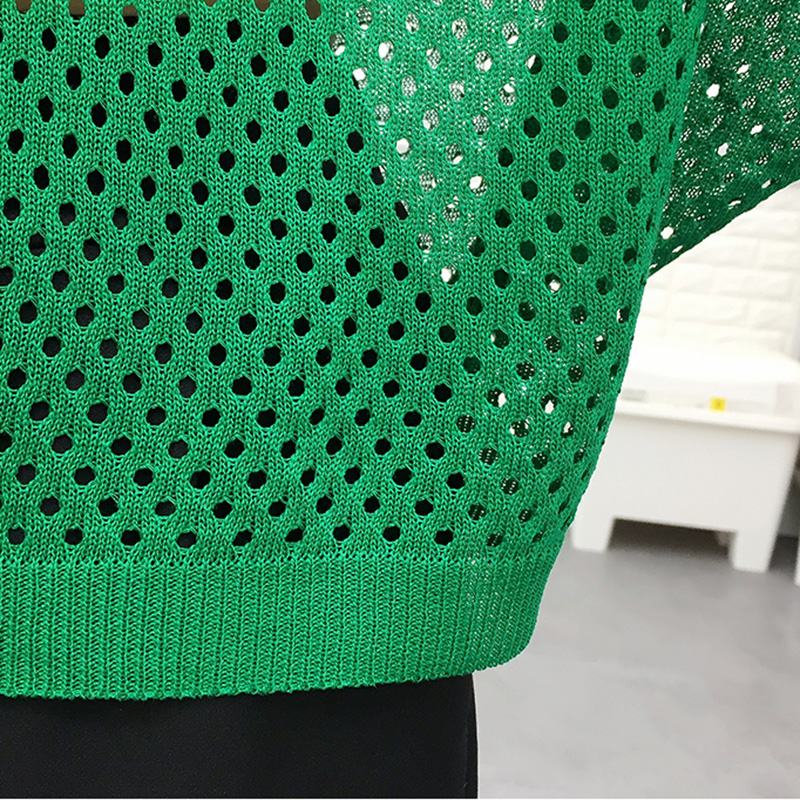 Sexy Women Knitted Pullover Mesh Hollow Sweater Female 2019 Spring Fashion Tops Bat Half Sleeve Solid Casual Loose Shirt Summer in Pullovers from Women 39 s Clothing