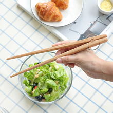 Wooden Kitchen Tongs Meat BBQ Tongs Clip Food Fruit Serving Tongs Toast Bread Salad Tongs Clamp