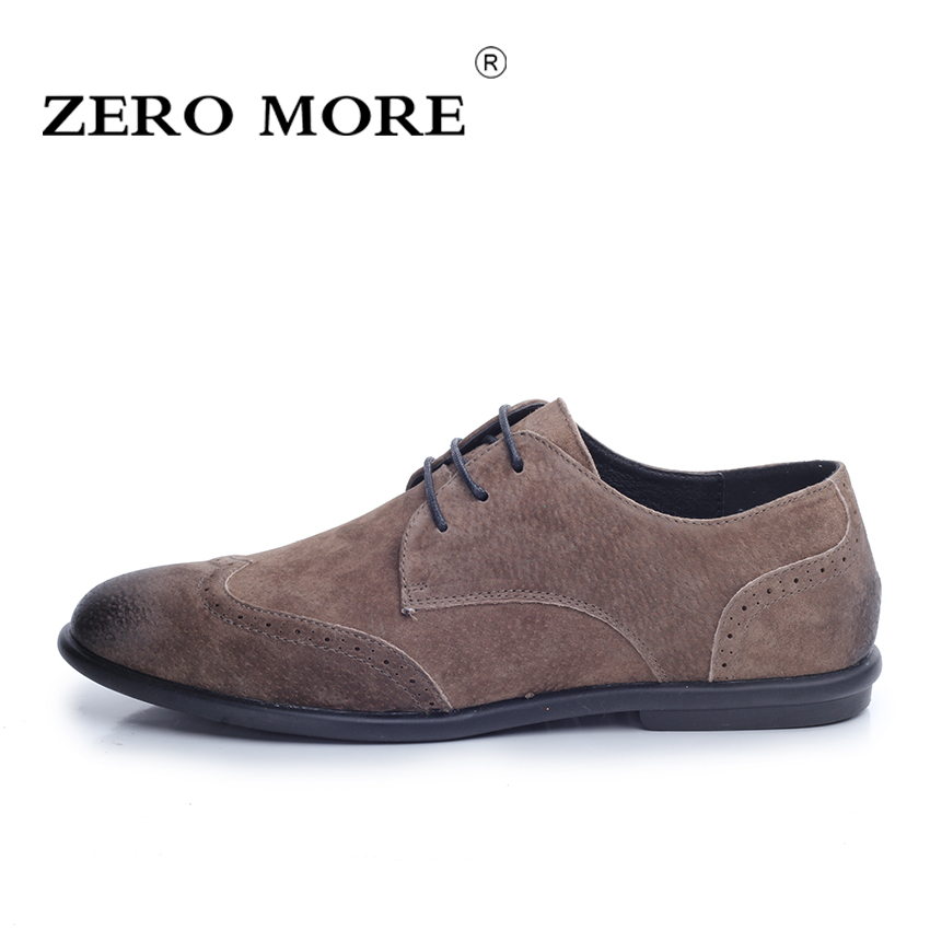 ZERO MORE Cow Suede Leather Men's Shoes Flats Business Casual Shoes Fashion Design Lace-up Oxfords for Men size 38-43 new brand cow suede men shoes genuine leather casual shoes breathable comfortable men oxfords shoes fashion men flats 2 5a