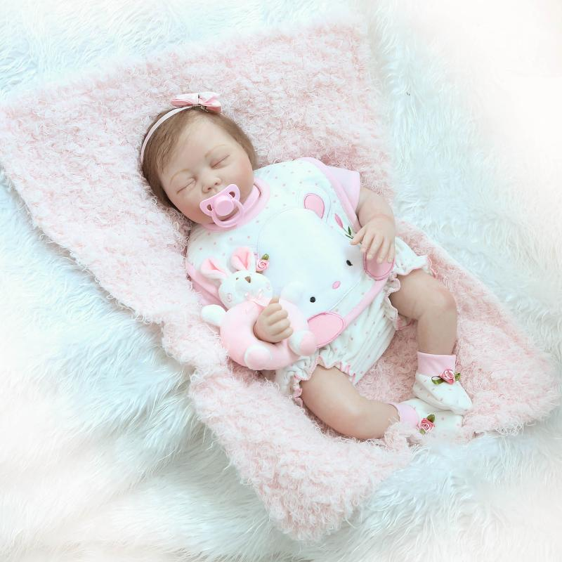 Asleep silicone reborn dolls pink bebe toys reborn babies soft touch for girl Christmas gift  Asleep silicone reborn dolls pink bebe toys reborn babies soft touch for girl Christmas gift