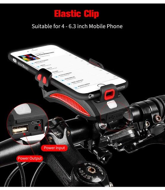 WEST BIKING 400 lumen Multifuncional Luz Da Bicicleta Com Suporte Do Telefone Da Bicicleta Destaque 2000/Banco do Poder 4000mAh Lanterna Ciclismo 2