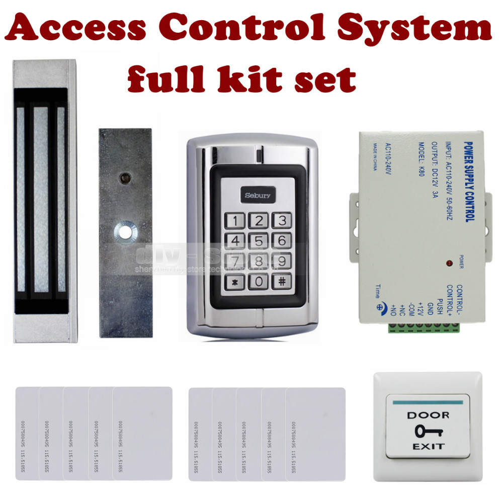 DIYSECUR Password Keypad 125KHz RFID Reader + Magnetic Lock + Power Adapter Access Control System Ki