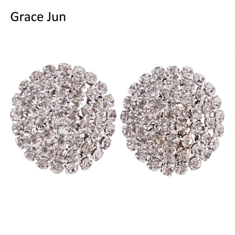 Grace Jun(TM) 2017 New Fashion Bridal Rhinestone Large Round  Clip on Earring No Pierced for Women Elegant Statement Earrings