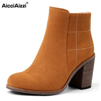 AicciAizzi Size 34 43 Sexy Ladies Real Leather High Heel Boots Women Zipper Round Toe Thick