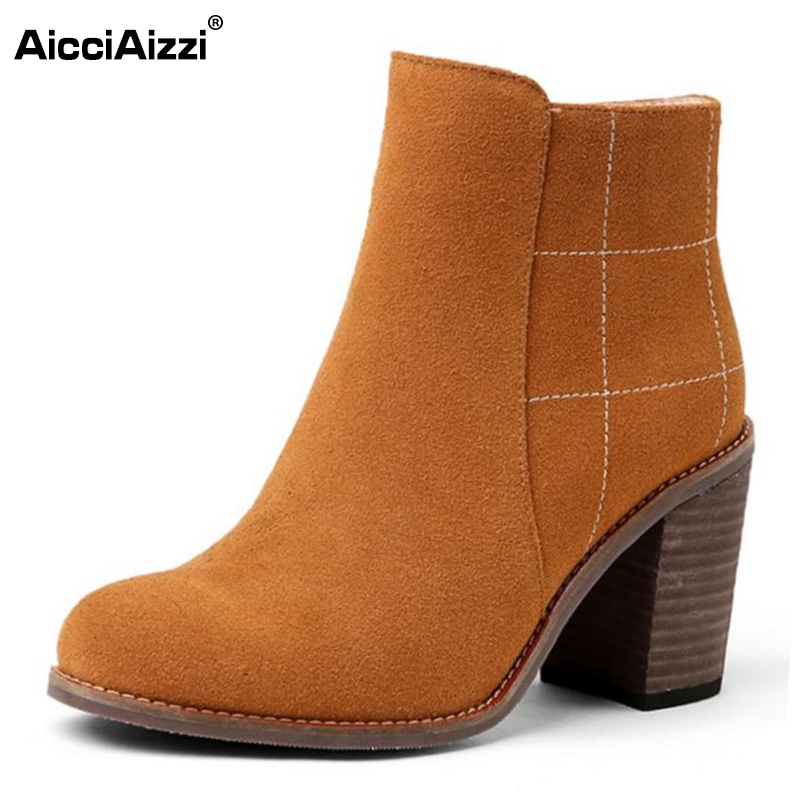 AicciAizzi Size 34-43 Sexy Ladies Real Leather High Heel Boots Women Zipper Round Toe Thick Heels Boot Fashion Warm Botas Mujer vinlle women boot square low heel pu leather rivets zipper solid ankle boots western style round lady motorcycle boot size 34 43