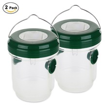 2pcs Wasp Trap Catcher, Portable Waterproof Solar Powered Trap with Ultraviolet LED Light Bee Trap for Home Garden Orchards Farm