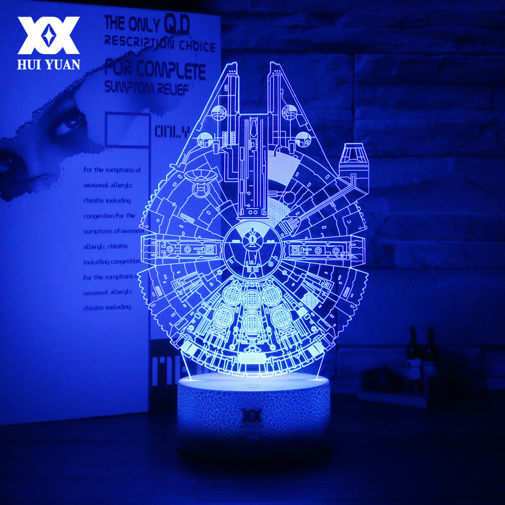 Star Wars Millennium Falcon 3D Lamp 7 Colors Glowing Base LED Cool Night Lights USB Home Decorative Table Lamp Christmas Gift