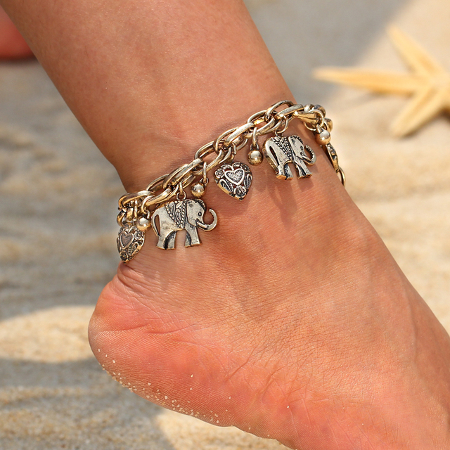 Vintage Gold Silver Color Anklets for Women Elephant Pendant Charms Box Chain Beach Summer Foot Ankle Bracelet Wholesale Jewelry 4