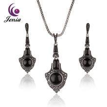 JENIA Nuevo Sistema de La Joyería Negro Ágata Plata Tailandesa Marcasita Anclas Diseño de Aretes y Collar Sets XS165