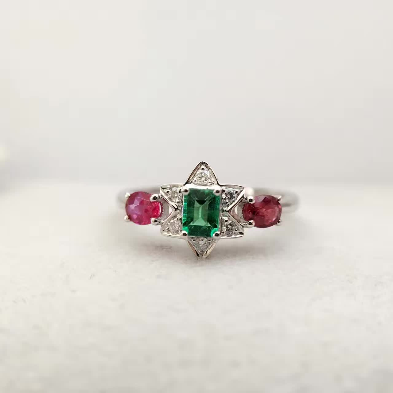 0.555ct+0.054ct 18K Gold Natural Emerald Ruby Women Ring with Diamond Setting Fine Ruby-Jewelry Wedding Band Engagement